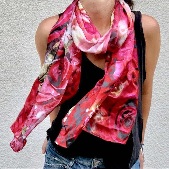 Accessories - GORGEOUS FLORAL ROSE SILK SCARF